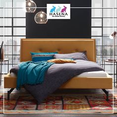 Hasena Dream-Line Bett Moon mit Kopfteil Talma und Fusselement Tondo in Anthracit Moon Design, Lighting Design, Line, Bedroom Decor, Furniture, Home Decor, Curry, Trends, Products
