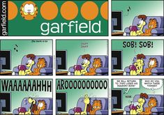 """Created by Jim Davis, Garfield is about the famous fat cat and his hilarious daily adventures with his """"pal"""" Odie and others. Garfield And Odie, Garfield Comics, Fat Cats Funny, Hagar The Horrible, Pokemon, Jim Davis, Todays Comics, Funny Pins, Funny Stuff"""