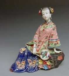 Chinese Porcelain Lady Figurines Oriental Ceramic China Dolls