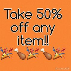 MY BLACK FRIDAY SALE starts now! Everything, and I mean everything, in my closet is 50% off for a limited time!! Simply ask me to lower the price for you or create a bundle, and I will lower the prices from what you see posted. Enjoy!! Other