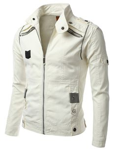 iDarbi Mens Zip Up Racer Jacket with Fake Pockets on Chest OFFWHITE XXXL