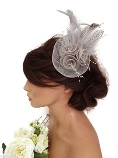 Elegant Silver Grey Rose Design Hair Clip Grip Fascinator Hatinator Feathers