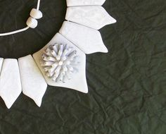 Winter Wonderland statement necklace white snow and ice polymer clay necklace chunky shorter bib or long necklace. $73.00, via Etsy.