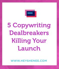 After reading LOTS of copy these last few weeks I've been exposed to a lot of customer copy and kept seeing the same mistakes over and over so I created a blog post about it. If you are selling something new, you need this post. 5 Copywriting Deal Breakers Killing Your Launches http://heyshenee.com/5-copywriting-deal-breakers-that-kill-launches/