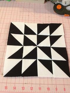 knit 'n lit: Modern Half-Square Triangle Quilt-a-Long Block 64