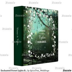Enchanted Forest Lights Rustic Wedding 3 Ring Binder Beautiful outdoor rustic wedding album or planner with string lights and touch of magical sparkle among the trees. Chalkboard style typography text with graceful floral border. Customize the names and wedding date with your information. Personalize names on spine area as well.