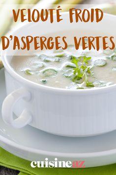 Bientôt la saison des asperges ! le velouté froid d'asperges vertes peut être servi à Pâques. #recette#cuisine#asperge#veloute #paques #pâques Bouquet Garni, Cream Soups