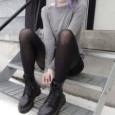 Soft Grunge Stockings with Dr Martens Boots - http://ninjacosmico.com/18-must-have-grunge-accessories-clothing/11/