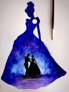Cinderella and the beautiful memory in her dress Watercolor