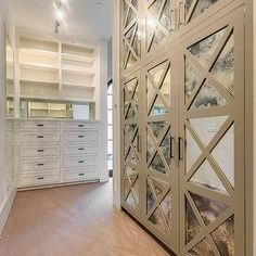 Closets with Antiqued Mirrored Doors, Transitional, Closet