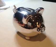 Charming Ceramic Piggy Bank Silver Tone with Rick Rack Tail by MyOwnAssortment on Etsy