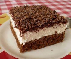 TĚSTO: 1 balíček prášku do pečiva 100 g cukru krupice 100 ml vody 200 ml oleje 2 lžíce kakaa 3 vejce 150 g hladké mouky  KRÉM: cukr, rum, 2 kelímky zakysané smetany, 2 kelímky pomazánkového másla 1 - 2 kelímky smetany ke šlehání  NA OZDOBU: 2 balíčky hořké čokolády