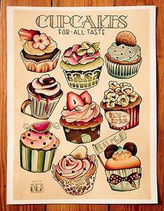 old school tattoo | love cupcakes!