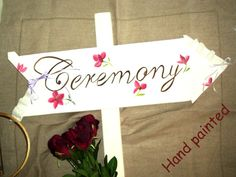 White-Hand Painted flowers Wedding Sign-Ceremony-with ribbon and lace ornemement Wedding Signs, Wedding Ceremony, Wedding Ideas, Painted Flowers, Art World, Small Businesses, Paper Shopping Bag, Wedding Flowers, Dream Wedding
