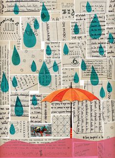 Rain collage    The backround was made with pieces of one of my old journals, the raindrops were stamped, the land is china paper and I made the umbrella with watercolor.