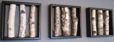 Birch Log Wall Hanging Black and White Open Art by MadeAtTheLake