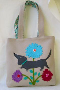 Felt Doggie Bag Purse with Dachshund Dog and by SaraJaneSince1956, $48.00