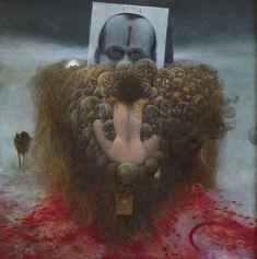 Zdzisław Beksiński ☽LUNA - Untitled - 1980, 87 x 87 cm (MHS) Arte Horror, Horror Art, Art Macabre, Art Sinistre, Blood Art, Dark Art Drawings, Creepy Art, Arte Pop, Fantastic Art