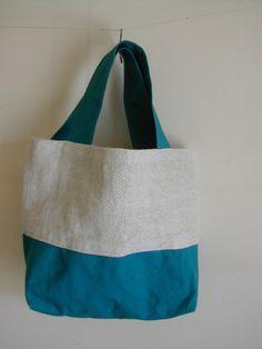 トートバッグ 綿麻(コットン リネン)手織&帆布コンビ ターコイスブルー|トートバッグ|ハンドメイド通販・販売のCreema