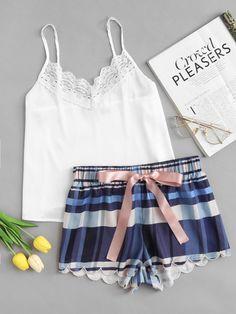 8991083d0a6dc Shop Lace Detail Cami  amp  Scalloped Plaid Shorts PJ Set online. SheIn  offers Lace