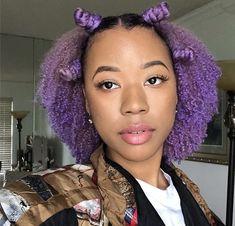 Purple Hair Black Girl, Light Purple Hair, Black Hair, Black Girls Hairstyles, Cute Hairstyles, Curly Hair Styles, Natural Hair Styles, Pleasing People, Dyed Natural Hair