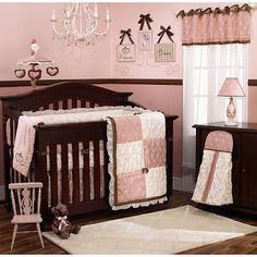 Habitación bebé chocolate y rosa