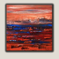 """Abstract Painting, Original Painting, Red, Blue, Orange colored Acrylic Painting on Canvas, Size: 30"""" x 30"""" x 1.5"""", Modern art. door ColorRich op Etsy https://www.etsy.com/nl/listing/214536108/abstract-painting-original-painting-red"""