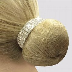 A four row crystal scrunchie, designed to fit over your hair band to complete your bun. One size elasticated fit. nickel free. #crystal #dressagebling #dressagerider #dressagehorse Elegant Hairstyles, Bun Hairstyles, Horse Riding Clothes, Hair Nets, Crystal Design, Horse Tips, Equestrian Outfits, Scrunchies, Hair Accessories