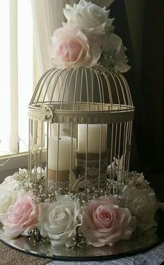 40 Amazingly Wonderful DIY Bird Cage Decorations for Indoor Ama., The bird cage is both a property for the chickens and an ornamental tool. You are able to select whatever you need on the list of bird cage types and get far more special images. Bird Cage Centerpiece, Diy Centerpieces, Bird Cage Decoration, Balcony Decoration, Diy Bird Cage, Bird Cages, Wedding Decorations, Christmas Decorations, Table Decorations