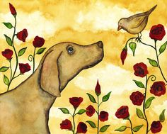 Dog Folk Art Paintings | Dog Pets Rose Floral Flower Whimsical Folk Debi Hubbs Art Painting ...