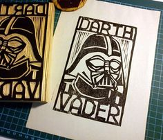Darth Vader Woodcut Print  by Monster Gallery    Hand-pulled woodcut print printed on newsprint.