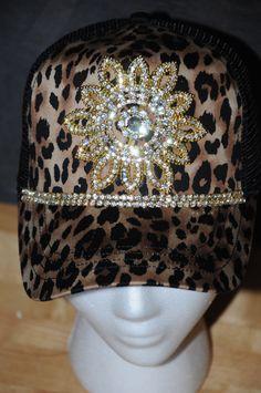 607603fbbd6 Items similar to Women s Trucker Hat. Baseball Hat. women s hat. gold.  Rhinestone appliqué. Leopard. cap. Hat. Snap back. bling. on Etsy