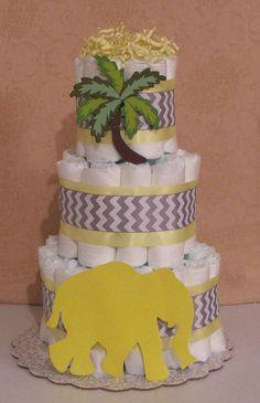 3 Tier Diaper Cake Yellow Elephant & Gray/Silver Chevron Baby Shower Centerpiece #Handmade