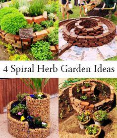 4 Spiral Herb Garden Ideas http://www.growingherbsforbeginners.com/spiral-herb-gardens/ - I like this. Repin!