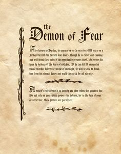 """""""The Demon of Fear"""" - Charmed - Book of Shadows"""