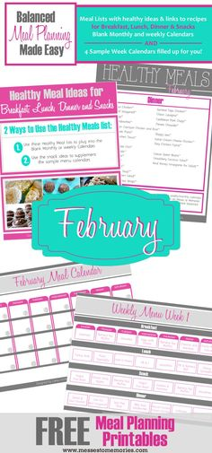 FREE Meal Planning Printables for the month of February from Messes to Memories