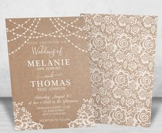 Kraft and Lace Wedding Invitation, Rustic Lace and Lights Wedding Invitation and RSVP Cards, Elegant Wedding Invites