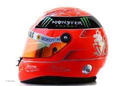 The 2012 helmet (side view) of Michael Schumacher of the Mercedes AMG Petronas Formula 1 team #F1.