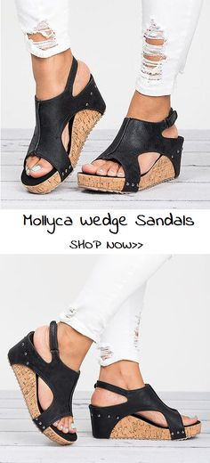 $35.29 USD Sale!SHOP NOW! Peep Toe PU Blocking Hook-Loop Wedge Sandals