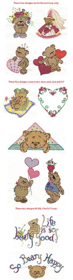 Embroidery designs | free machine So Beary Sweet