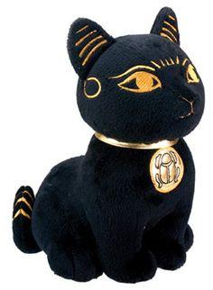 """Large Size 10.5"""" Egyptian Bast Plush. Black & Golden Bastet Cat Stuffed Animal. Soft & Cuddly.Cute! Bundle of Joy"""