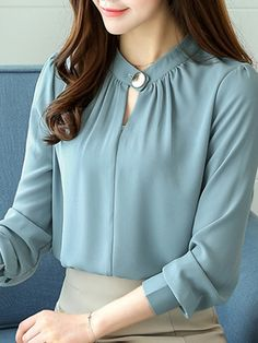 Casual Chiffon O-Neck Solid Color Office Shirt - Office Outfits Stylish Dresses For Girls, Stylish Dress Designs, Kurti Neck Designs, Blouse Designs, Collar Designs, Sleeves Designs For Dresses, The Office Shirts, Blouse Styles, Chiffon Tops