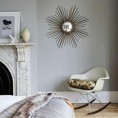 Starburst mirror and Eames rocking chair via Living etc Farrow And Ball Lamp Room Grey, Grey Wall Mirrors, Mirror Walls, Sun Mirror, Eames Rocking Chair, Boho Deco, Living Etc, Living Room, Living Spaces