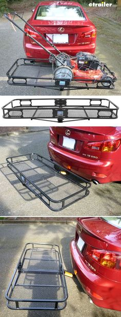 Haul it all, even with your car! Hitch-mounted, basket-style cargo carrier lets you tote extra gear. Frees up space inside your vehicle for passengers and pets. Keeps wet and muddy items, like the lawn mower, outside of your vehicle.