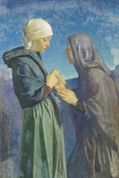 fine art blessed virgin mary | Mary and Elizabeth by Dorothy Webster Hawksley Art Prints by The Fine ...