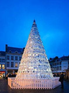 Christmas in Belgium. Tree made of porcelain plates!