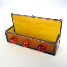 Honey Gold Handmade Stained Glass Business Card by 2GlassThumbs
