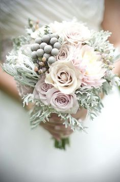 "Soft & Elegant Bridal Bouquet Showcasing A Creamy Blush Dahlia, ""Vintage"" Ultra Light Lavender Roses, ""Vintage"" Cream Rose, Silver Brunia, White/Blush Snowberry, & Lacey Dusty Miller^^^^^^^^^^^^^^^^^^^^^^^^^"