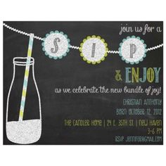Chalkboard Sip and See Baby Shower Invitation for Boys