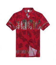 Men Hawaiian Aloha Shirt in Red Surfboards